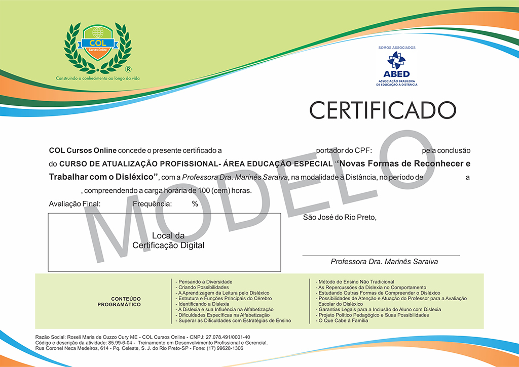 Modelo Certificado Col - Cursos Online